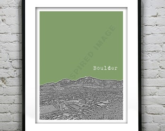 Boulder CO Skyline Colorado Poster Art Print Version 1