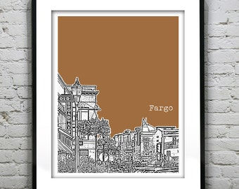 Fargo North Dakota Poster Skyline Art Print ND Version 1