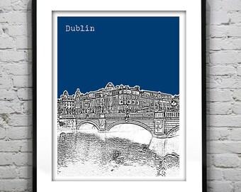 Dublin Ireland Skyline Poster Art Print River Liffey