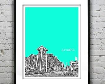 Arusha North Tanzania Skyline Poster Art