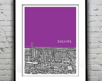 Nairobi Kenya Africa Skyline Poster Art
