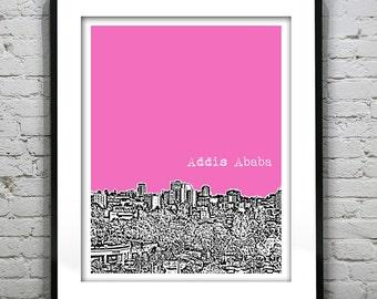 Addis Ababa Ethiopia Poster Art Print Skyline   Africa