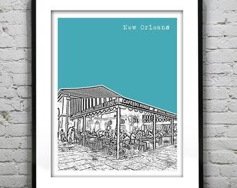 New Orleans Skyline Poster Art Print French Quarter Cafe Du Monde Louisiana LA Version 14