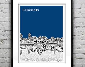 Kathmandu Nepal Poster Art Print Skyline Ranipokhari Version 2