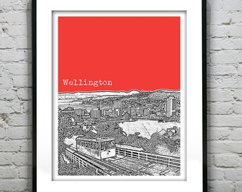 1 Day Only Sale 10% Off - Wellington New Zealand Poster Art Skyline Travel Print Cable Car