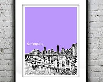 Brisbane Australia Skyline Poster Print Art