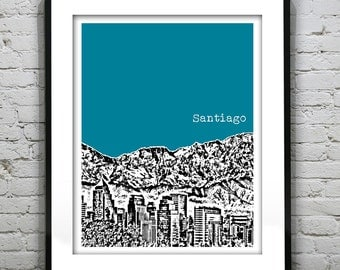 Santiago Chile Poster Print Skyline Art South America