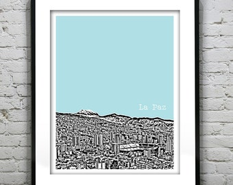 La Paz Bolivia Poster Print Skyline Art South America