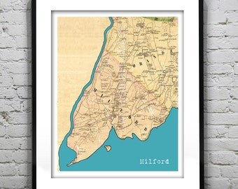 Valentines Day Sale 20% Off   Milford Connecticut Poster Art Print Old  Vintage Map