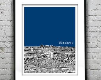 Winthrop Massachusetts Skyline Poster Art Print MA Version 1