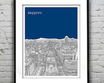 Sapporo Japan Skyline Poster Art Print Travel