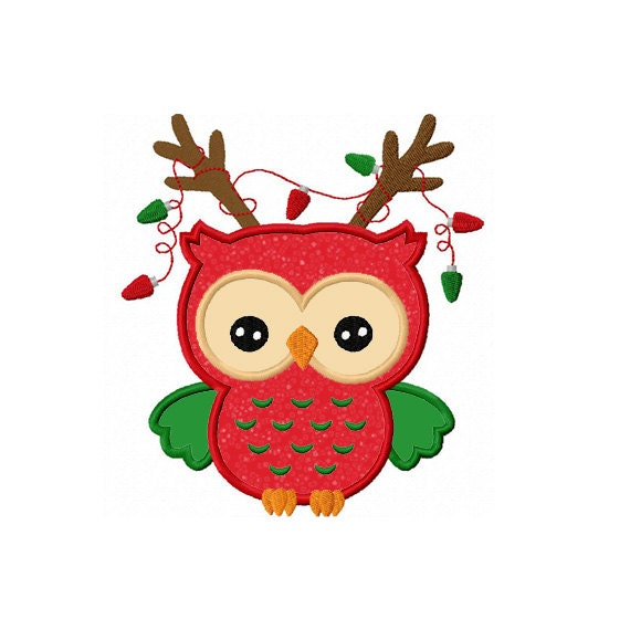 Christmas Reindeer Owl Applique Machine Embroidery Design