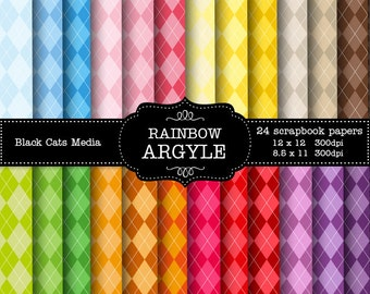 Rainbow argyle Digital Paper Pack 300 dpi 12x12 and 8.5 x 11  24 papers For Personal or Small Business  instant download