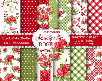 Christmas Shabby Chic Digital paper 12 x 12 in AND 8.5x11 in -Shabby chic rose for scrapbooking, invites, cards