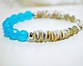 Keishe Pearl Stacking Bracelet, Peruvian Opal Quartz Beaded Bracelet, Sterling Silver, Beach Inspired Fashion Bracelet, Layering Bracelet
