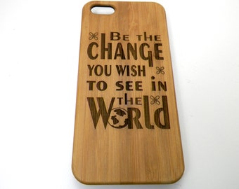 Be The Change iPhone 7 Plus Case. Mahatma Gandhi Motivational Quote. Eco-Friendly Bamboo Wood Cover. World Peace Gift iMakeTheCase Brand