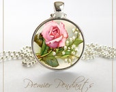 Pink Rose and Lily of the Valley Flower Necklace Pendant Vintage Image Art Jewelry 0150SC