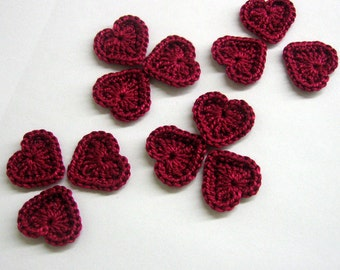Crocheted tiny hearts 0.8 inches maroon red, set of 12