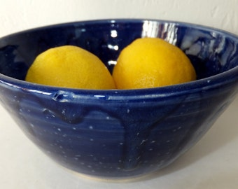 Blue Cereal Bowl, Handmade Stoneware Pottery