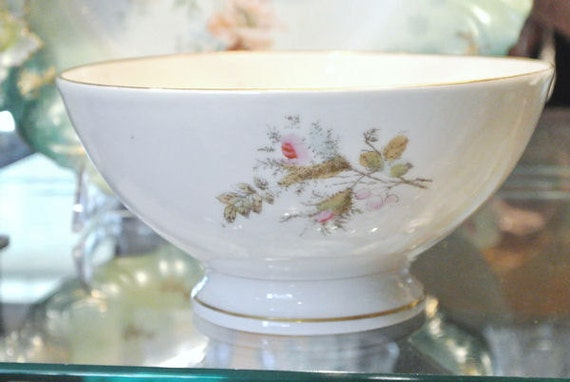 1860s Antique Ironstone Waste Bowl Moss Rose Polychrome Aesthetic Brown Transferware Transfer Civil War Era Footed Victorian Waste Bowl