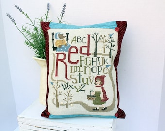 Little Red Riding Hood cross stitch pillow, children, teacher, fairy tale