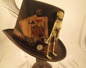 STEAMPUNK HATS, Day of the Dead, Top hat, brown top hats, playing cards, clock parts, skeleton, halloween