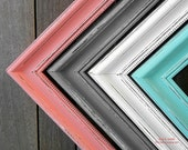 """Any Color 6 x 9 Picture Frame 2"""" Thick Moulding Shabby chic - You pick the color Coral Gray Blue Pink Painted and Distressed Picture Frame"""