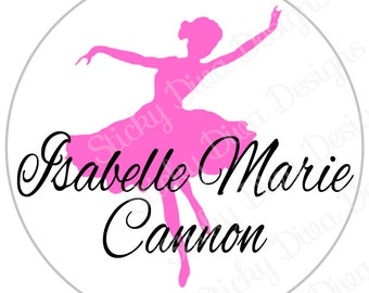 PERSONALIZED STICKERS - Custom Sweet Ballerina Monogrammed Labels - Round Gloss Labels
