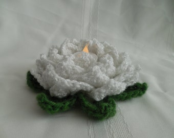 White with Silver Sparkle Lotus votive candle holder