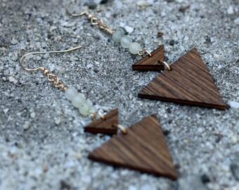 BEADED SPEAR Earrings // Salvaged WOOD Jewelry // Triangle or Arrow Earrings