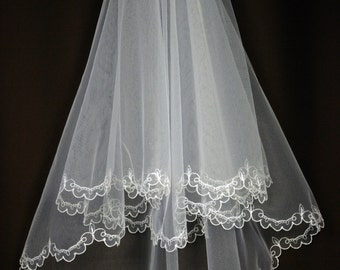 Bridal Veil - Emma Wedding Veil with Embroidery - Embroidered Veil - Two Layers - Cascade Veil - Lace Veil