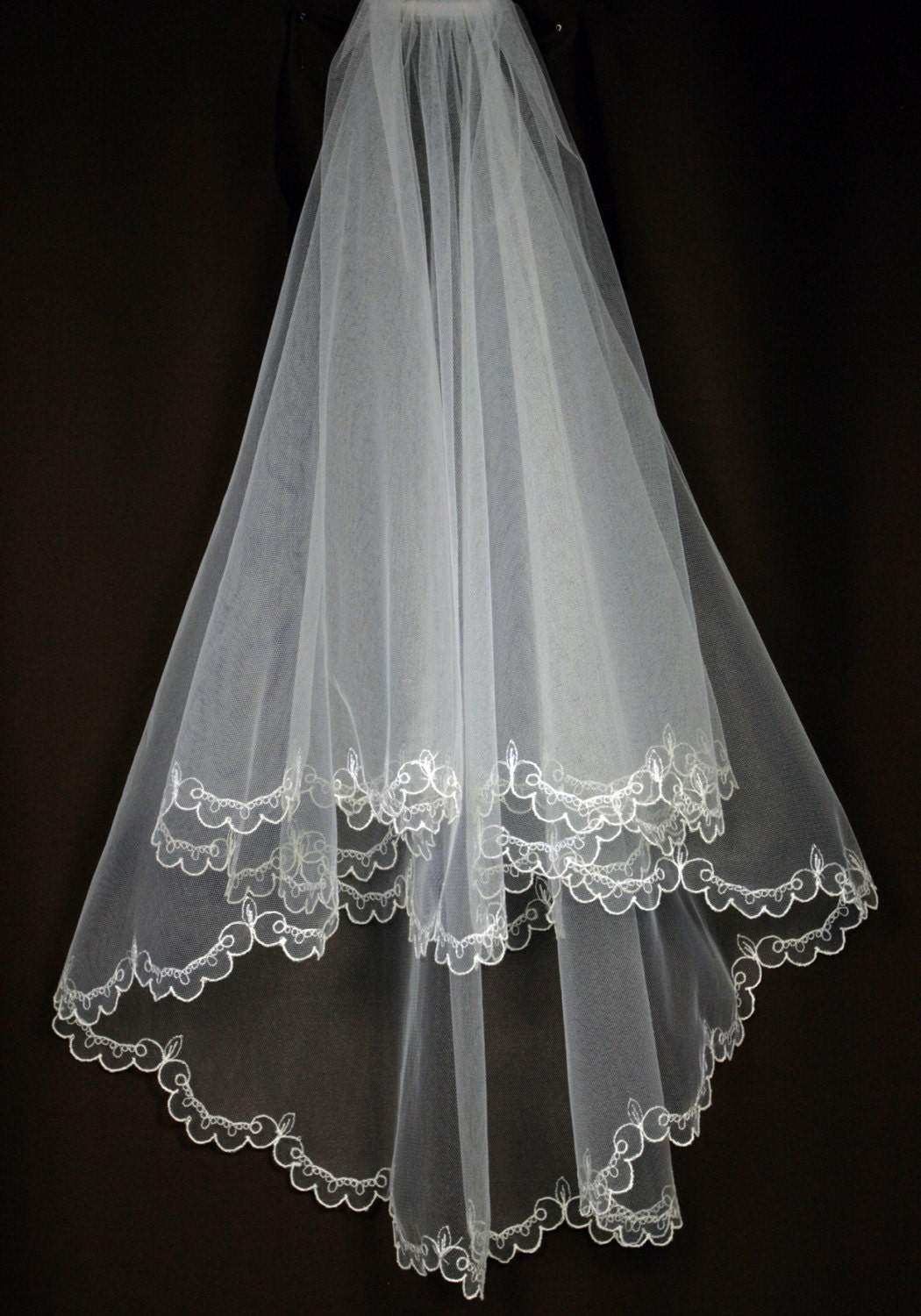 Bridal veil emma wedding with embroidery embroidered