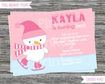 DIY - Girl Pink Snowman Birthday Party Invitation #345 - Coordinating Items Available