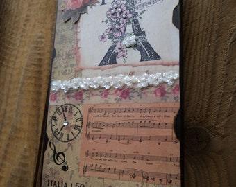 Paris Decor Sign Eiffel Tower I Love Paris Vintage Paper French Decor