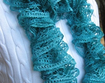 Knitted Ribbon Scarf Mint Green Matallic Winter Accessories Hand Knit Scarf Woman Teens Gift Idea For Her
