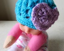 Crocheted PREEMIE Blue Hat with Big Purple Heart. Ready to be Shipped.