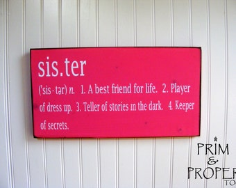 Sister Definition -Typography Wall Art Sign-