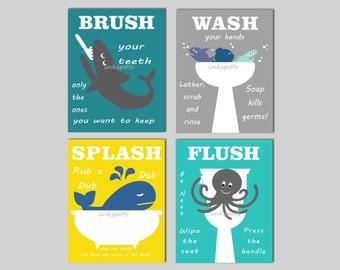 Kids Bathroom Prints - Kids Bath Wall Art - Bathroom Rules - Childrens Bathroom Prints Nautical Kids Bath Print - Wash Flush Brush - KB02