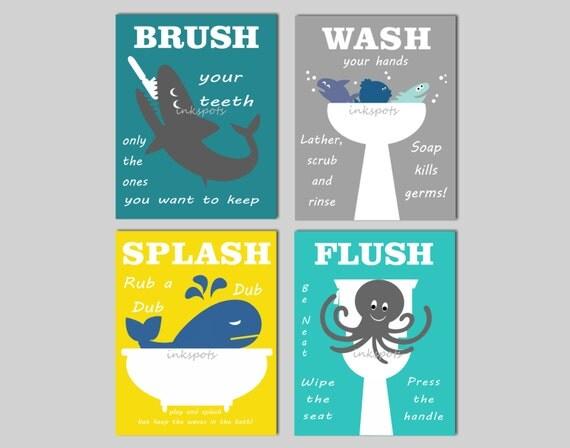 Kids Bathroom Prints Kids Bath Wall Art Bathroom Rules