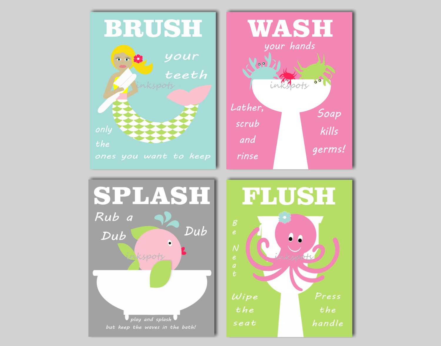 Mermaid Bathroom Wall Art Kids Bathroom Prints Brush Your