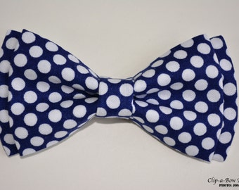 Bow Tie-Blue with White Polka Dots, Bow Ties for Kids,Tie Clip, Mens Bow Tie,Bow Tie Clip,Clip On Bow Tie, Kids Bow Tie, Bow Tie Clips