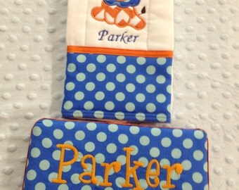 Personalized Wipe Case and Burp cloth Set