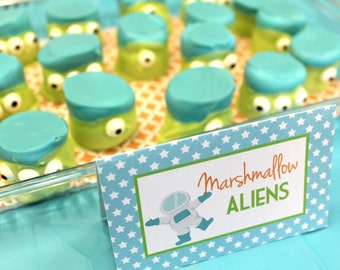 Modern Outer Space Birthday Party - Set of 8 Food Label Table Tents - Rocket, Astronaut, Spaceship, Planets, Moon, Stars