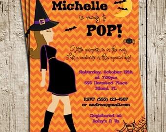 Halloween Baby Shower Digital Printable Invitation