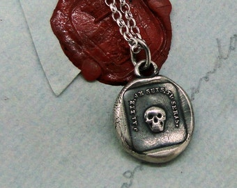 Mortality, 'as you are, so once was I', skull wax letter seal