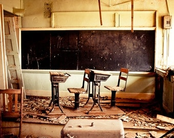 Rustic Photography, abandoned schoolhouse, school, vintage blackboard, school desks, desks, architecture, primitive, Home Decor