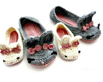 Mommy and Me Bunny Slippers - Easter slippers - spring - womens slippers child toddler slippers