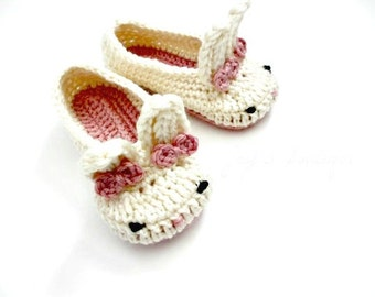 Child Bunny Slippers - Crochet Slippers - Pink and White - Tot Hops - Baby Bunny - Toddler Child Shoes