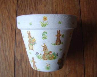 Hand Painted and Decoupaged Decorative Flower Pots Spring Rabbits.