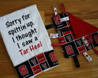 NC State Burp cloth and toy blanket baby gift set